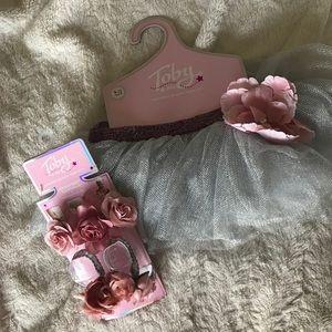NEW Silver Tutu, sandal, headband set. Size 9-12M